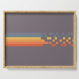 Classic 70s 80s STyle Retro Stripes Pixel Drops - Aimatsu Serving Tray
