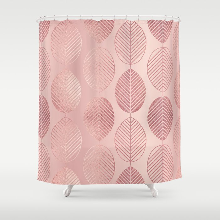 Rose Gold Leaf Pattern Shower Curtain By Tanyalegere