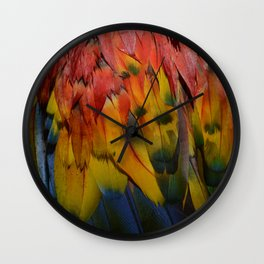 Scarlet Macaw Feathers Texture Photograph Wall Clock