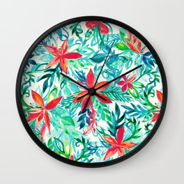 Paradise Floral - a watercolor pattern Wall Clock
