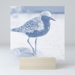 sandpiper navy tone bird art washed out effect aesthetic landscape art photography Mini Art Print