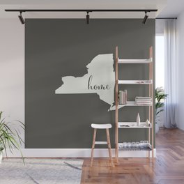New York is Home - White on Charcoal Wall Mural