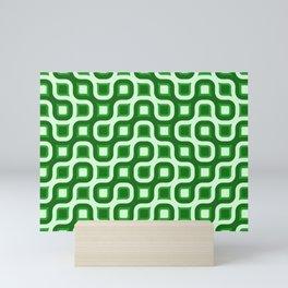 Truchet Modern Abstract Concentric Circle Pattern - Green Mini Art Print