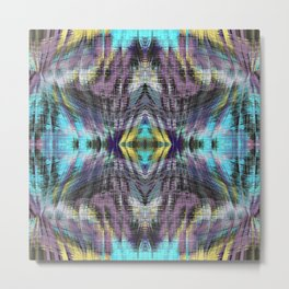 psychedelic geometric symmetry abstract pattern in purple blue yellow Metal Print