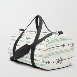 Boho gray yellow mint green polka dots arrows stripes Duffle Bag