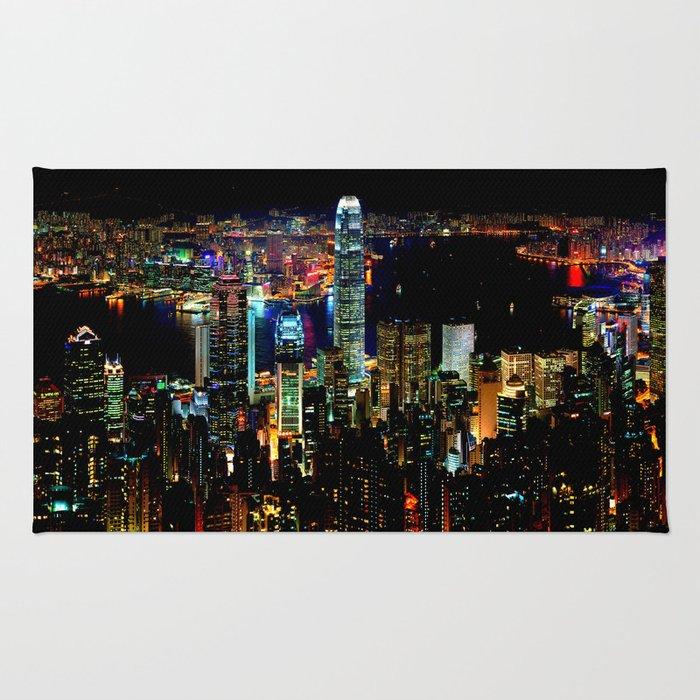 Hong Kong Colorful Black Night Rug