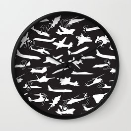 Aircraft Silhouettes, Black White Pattern Wall Clock