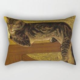 """Théophile Steinlen """"Cat on a Balustrade"""" Rectangular Pillow"""