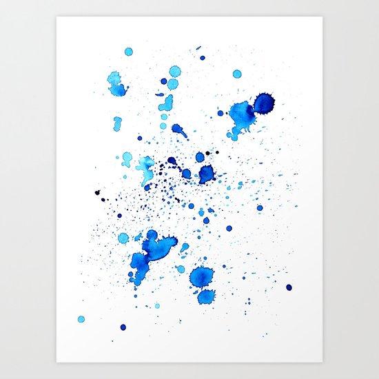 Blue Splatter Art Print