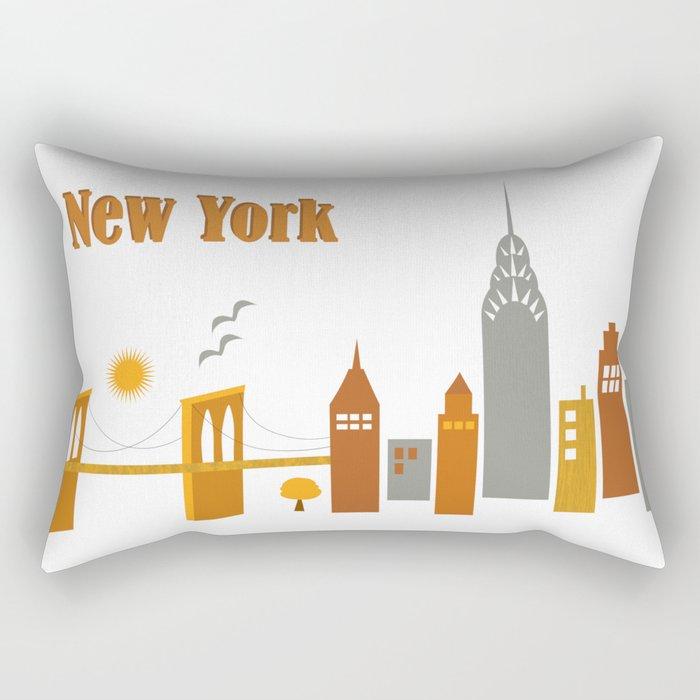 New York City, New York - Skyline Illustration by Loose Petals Rectangular Pillow