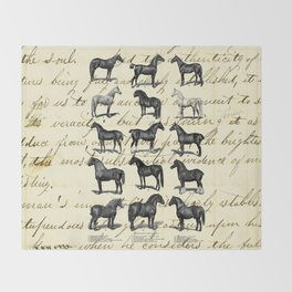 1895 Vintage Horse study Throw Blanket