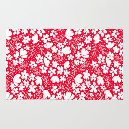 Love Blossoms Pattern White on Red Rug