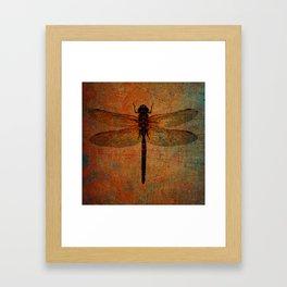 Dragonfly On Orange and Green Background Framed Art Print