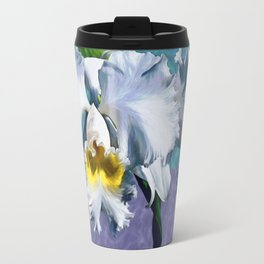 White Orchid Over Water Travel Mug
