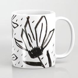 Black and White Echinacea Wildflower Drawing Coffee Mug