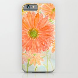 Orange Coral and Yellow Daisy Watercolor Flower iPhone Case