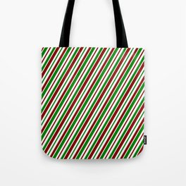Christmas-Themed Red, White, and Green Colored Striped Pattern Tote Bag