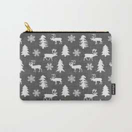 Winter Forest on Dark Linen Carry-All Pouch