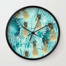 Tropical Pineapple Jungle Geo #3 #tropical #summer #decor #art #society6 Wall Clock