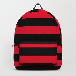 Black and Apple Red Medium Stripes Backpack