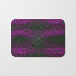 Wild Emerald Green Purple Circle 3D Abstract Bath Mat