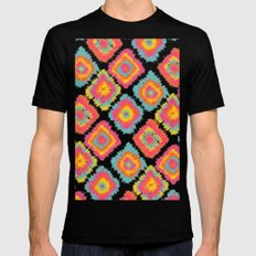 Modern boho hippie tie dye Ikat pattern pink orange yellow turquoise pattern Black Mens Fitted Tee MEDIUM
