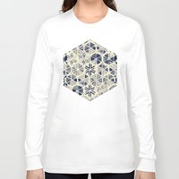 bedding Long Sleeve T-shirts featuring Hand Painted Triangle & Honeycomb Ink Pattern - indigo & cream by micklyn
