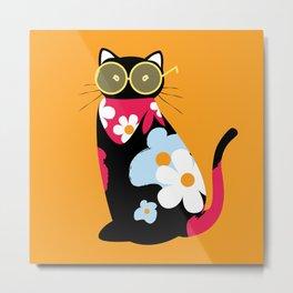 Black cat with sunglasses and floral bandana Metal Print