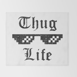 Thug life glasses print Throw Blanket