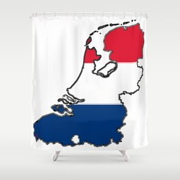 Netherlands Map with Dutch Flag Shower Curtain