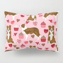 Border Collie red coat cupcakes valentines hearts dog breed pet friendly gifts for collie lovers Pillow Sham