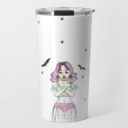 Gypsy Gothic Bat Girl - Lace Skirt Travel Mug