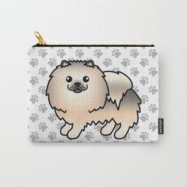 Cream Sable Pomeranian Dog Cute Cartoon Illustration Carry-All Pouch