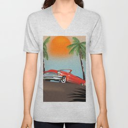 Vintage Red Classic Car Unisex V-Neck