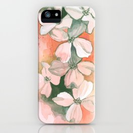 Dogwoods Sketch in Red iPhone Case