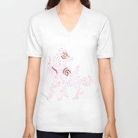 okami V-neck T-shirts featuring Okami Amaterasu - Cherry Blossom Form [BLACK] by Daniel Bevis