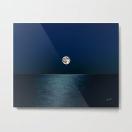 Moon Rising Over Lake Michigan Metal Print