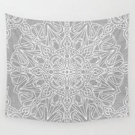 White Mandala on Grey Linen Wall Tapestry