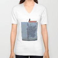 gladiator V-neck T-shirts featuring FISH by karakalemustadi