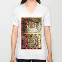 quilt V-neck T-shirts featuring Ancient Quilt by Robin Curtiss