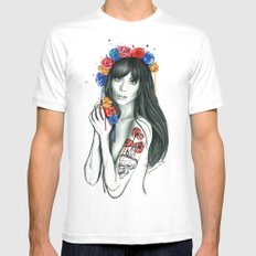 tattoo girl MEDIUM Mens Fitted Tee White
