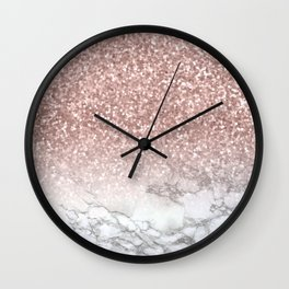 Sparkle - Glittery Rose Gold Marble Wall Clock