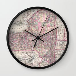Vintage New York State Railroad Map (1876) Wall Clock