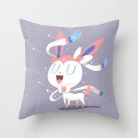 sylveon Throw Pillows featuring Sylveon by Rod Perich