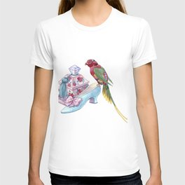 A box with a crystal handle, a baroque shoe and a bright parrot T-shirt
