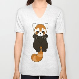 Lesser Panda / Red Panda Hanging Body Unisex V-Neck