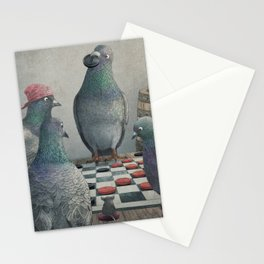 The Antlered Ship_Pigeons Playing Checkers Stationery Cards