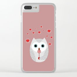 OWL, LOVE & BUBBLES (valentine animals heart) Clear iPhone Case