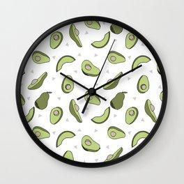 Avocado pattern by andrea lauren minimal cute fruit vegetable food print design Wall Clock