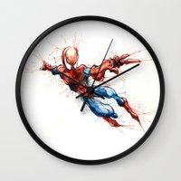 spider man Wall Clocks featuring Spider-Man by Nicola Girello